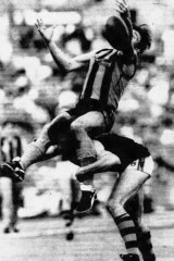 Hawthorn's Tony Hall spills the mark, despite an unexpected boost from Richmond's Brian Leys.