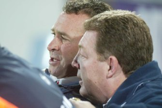 Ricky Stuart and Phil Gould during their time together at the Sydney Roosters in 2002.