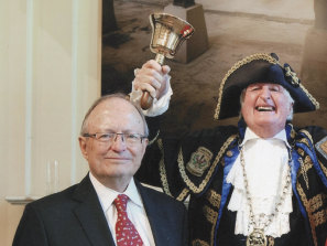 John Mant elected to the City of Sydney Council with the town crier, 2012.