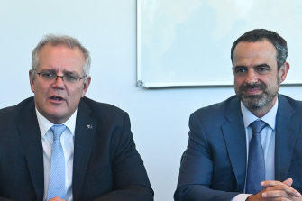 Scott Morrison at a roundtable discussion on vaccines with GPs and AMA president Dr Omar Khorshid in April.