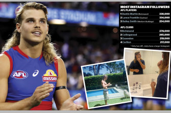 Emerging Bulldogs cult figure Bailey Smith, an Instagram hero among AFL athletes.