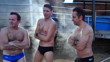 Cold, what cold? Brighton Icebergers Peter Day (left), Pablo Pizzuto and Ritchie Gee.