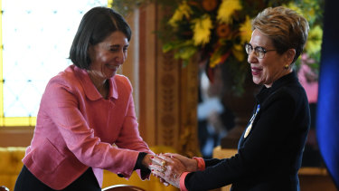Her Excellency the Honourable Margaret Beasley AO QC is congratulated by NSW Premier Gladys Berejiklian after being sworn in as the 39th Governor of NSW at Government House in Sydney.