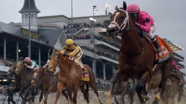 Second best: Luis Saez on Maximum Security leads Flavien Prat on Country House in the Kentucky Derby.