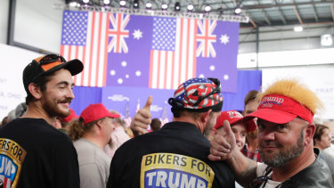 Supporters of US President Donald Trump at the opening of the Pratt Industries Wapakoneta recycling and paper plant in Ohio.