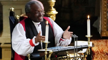 Bishop Michael Curry giving his much-discussed sermon.