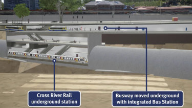 The 650-metre long busway would be located directly under the Roma Street station plaza.