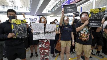 Protests at Hong Kong airport.