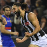 Shooting star: Brodie Grundy slots a goal for Collingwood against the Western Bulldogs.