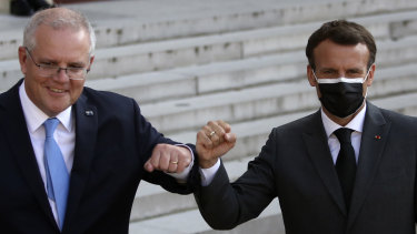 Prime Minister Scott Morrison with French President Emmanuel Macron in Paris in June.