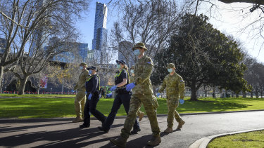 Police and Defence Force troops have enforced rules under Victoria's state of emergency.