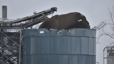 The top of a tank appeared to have exploded at the water recycling centre.