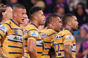 A week after their 58-0 thrashing of Brisbane, Parramatta crashed back to earth in Melbourne on Saturday night.