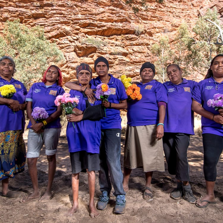 Tangentyere women's family safety group members (left to right) Helen Gillen, Nanetta Kenny, Louise Abbott, Shirleen Campbell, Glorianna Moketarinja, Barbara Shaw and Connie Shaw.