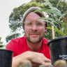 Melbourne Polytechnic horticulture student Liam Ward at home in his Reservoir garden.