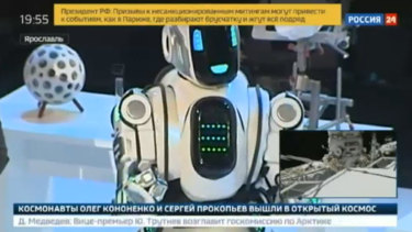 """Boris the Robot"", who appeared on the Russian news network Russia24. It later transpired that the robot  was a man in a suit."