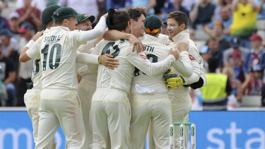Australia celebrate after beating England by 251 runs during day five of the first Ashes Test.