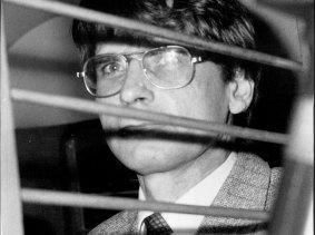 Mass murderer Dennis Nilsen after an Old Bailey judge yesterday gave him eight life sentences, 1983.