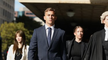 Callan Sinclair arrives at court on Friday.