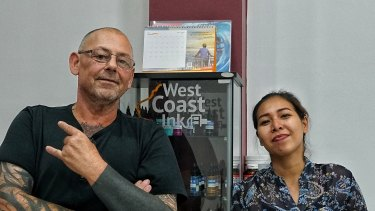 Rob (left) co-owner of West Coast Ink studio with the studio manager Adisti (right).