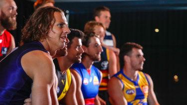 Dockers leader Nat Fyfe and other AFL captains, including Eagle Luke Shuey (far right).