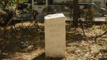 A monument for slain Saudi journalist Jamal Khashoggi sits near the Saudi Arabian consulate in Istanbul, Turkey.