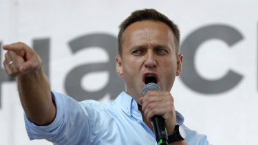 Alexei Navalny, pictured last year, has been brought out of a medically induced coma.
