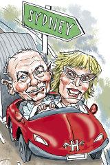 Gerry Harvey and Katie Page. Illustration: Joe Benke