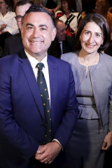 NSW Deputy Premier John Barilaro and NSW Premier Gladys Berejiklian during the NSW Nationals campaign launch in Queanbeyan.