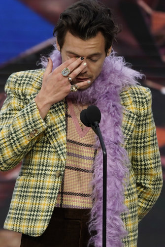 Singer Harry Styles wearing nail polish at the 63rd Grammy Awards in March.