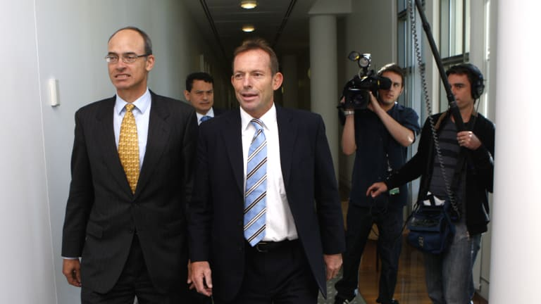 December 1, 2009: Tony Abbott walks back to his office after ousting Malcolm Turnbull from the Liberal Party leadership by one vote.