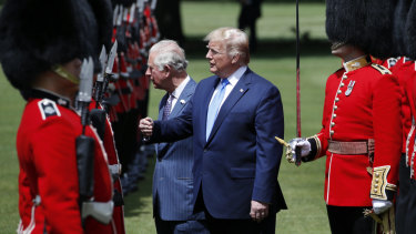 President Donald Trump and Prince Charles inspect the Guard of Honour at Buckingham Palace in June.