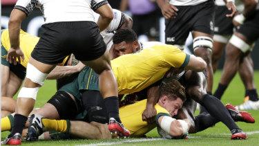 Hooper scored Australia's first try in their unconvincing win over Fiji.