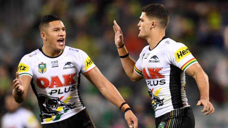 Nathan Cleary celebrates his match-winning field goal against the Raiders.