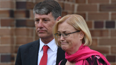 Stephen and Shaunagh Fowler, the parents of Lucas Fowler, leave the memorial service.