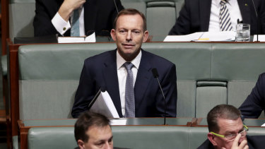 Former prime minister Tony Abbott tried to reopen old decisions about cuts to greenhouse gas emissions that were made under his own government in Tuesday's party room meeting.