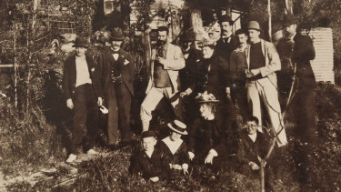 Curlew campers with Rodney Cherry (centre, with beard). Part of the R. Cherry collection.