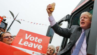 Boris Johnson ahead of a nationwide bus tour to campaign for Brexit in May 2016.