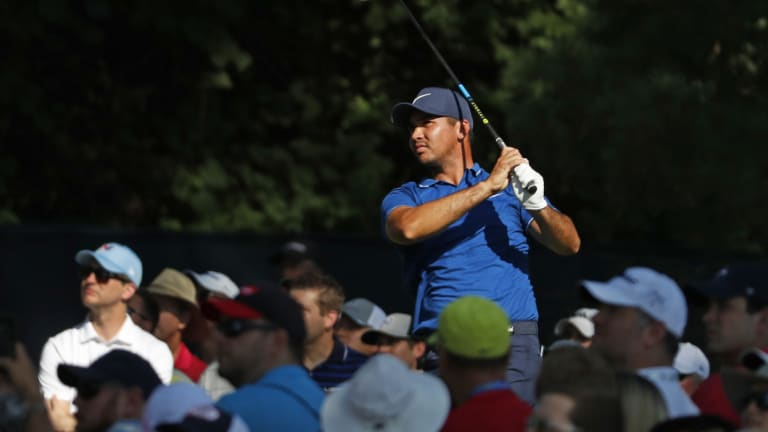 Emotional Day: Jason Day tees off on the 15th hole during the first round of the PGA Championship.
