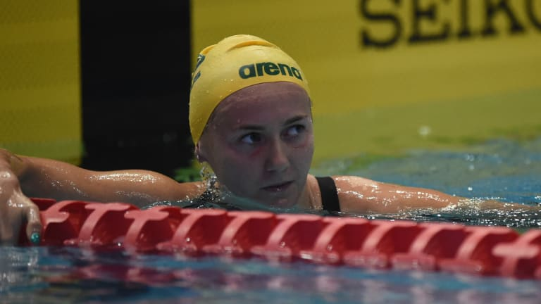 Determined: Ariarne Titmus became just the second woman to swim the 400m freestyle in under four minutes in a regulation textile suit.