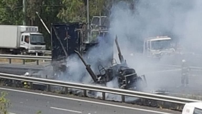 The smouldering remains of the semi-trailer
