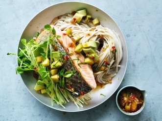 ***EMBARGOED FOR SUNDAY LIFE, JANUARY 27/19 ISSUE*** Adam Liaw recipe : Salmon and avocado soba with chilli and lemon dressing Photograph by William Meppem (photographer on contract, no restrictions)