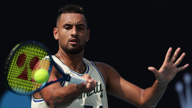 Kyrgios was put through his paces by Hewitt at Ken Rosewall Arena on Friday.