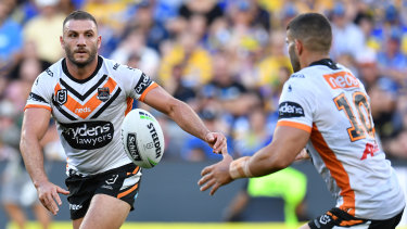 Insult to injury: Robbie Farah didn't return from a head knock early in the Tigers' massive loss to Parramatta.