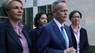 A debate Labor needs to have ... Opposition Leader Bill Shorten with Tanya Plibersek and Penny Wong.