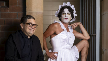 Josh Quong Tart, right, pictured with Sydney Festival director Wesley Enoch, is reimagining Betty Blokk-Buster.