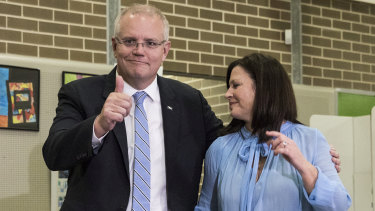 Scott Morrison, with wife Jenny, was sharp and effective in this election campaign by making himself a small target and turning every question into a personal contest against Bill Shorten.