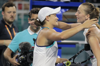 Ashleigh Barty, of Australia, hugs Petra Kvitova, of the Czech Republic, after winning 7-6(6), 3-6, 6-2 during the Miami Open tennis tournament, Wednesday, March 27, 2019.