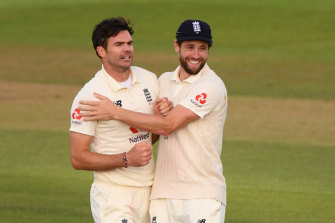 James Anderson (left) celebrates a wicket.