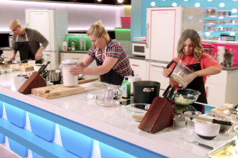 Jonathan Kim (left), Alexandra Jones and Melissa Schwimmer compete in Netflix's food-based reality game show, Best Leftovers Ever.